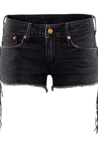Black Denim Frayed Hem Shorts Featuring Tassel Detailing