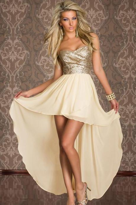 Women's Cute Yellow Off The Shoulder Solid Chiffon Floor-Length Sleeveless Asymmetrical Dress