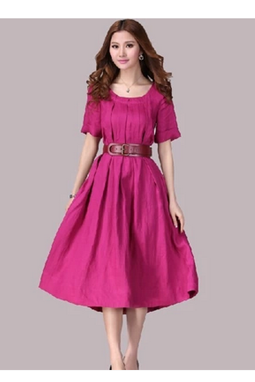 Belted Linen Dress in Pink