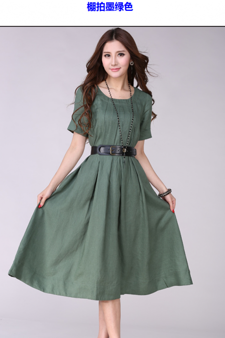 Belted Linen Dress plus size dress in Green