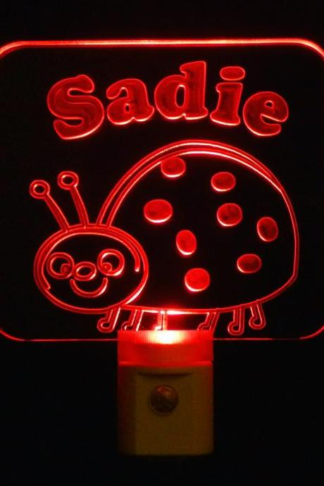 Kids Personalized Lady Bug Night Light, Customize with name-Free Shipping to US