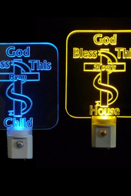 Personalized Christian Cross LED Night Light