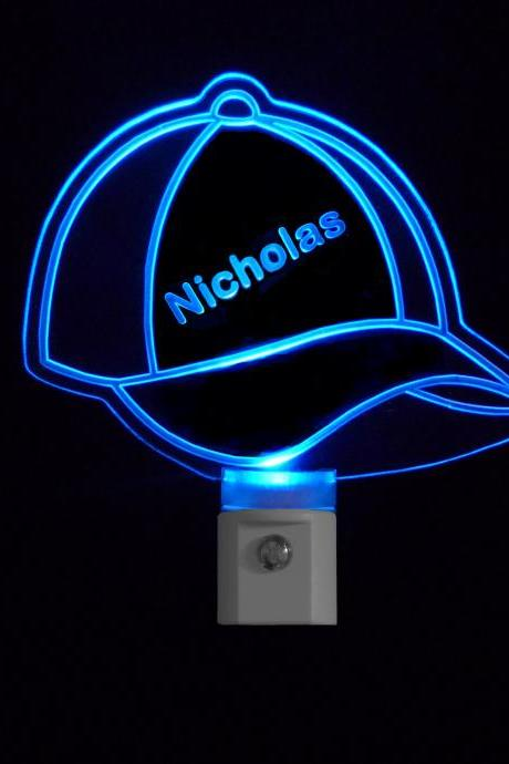 Kids Personalized Baseball Cap LED Night Light with Name