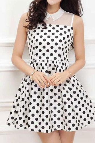 Fashion Gathered Waistline Sleeveless Dots Dress [grxjy561678]