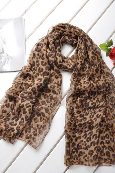 Stylish Fashion Style Leopard Pattern Chiffon Silk Scarf