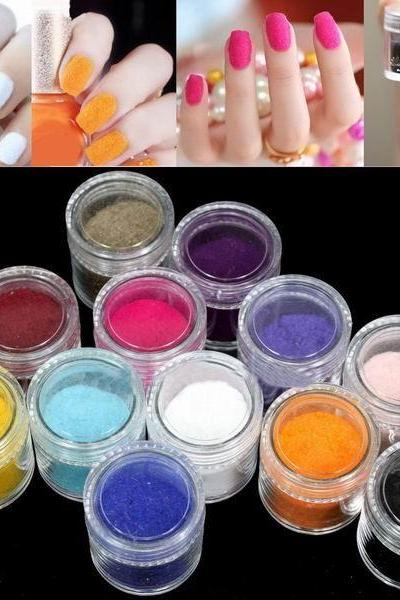 1set New 12 Colors Fashion Tips Nail Decoration Fuzzy Flocking Velvet Nail Powder Nail Art Tools