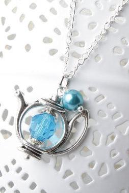 Teapot Necklace - blue glass and pearl - blue teapot necklace - Antique silver - Alice in Wonderland jewelry tea time necklace - tea jewlery