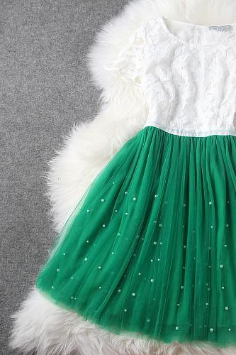 Pretty Green And White Organza Dress/Summer Dress/Dresses/Dress 2014, Lace Dress