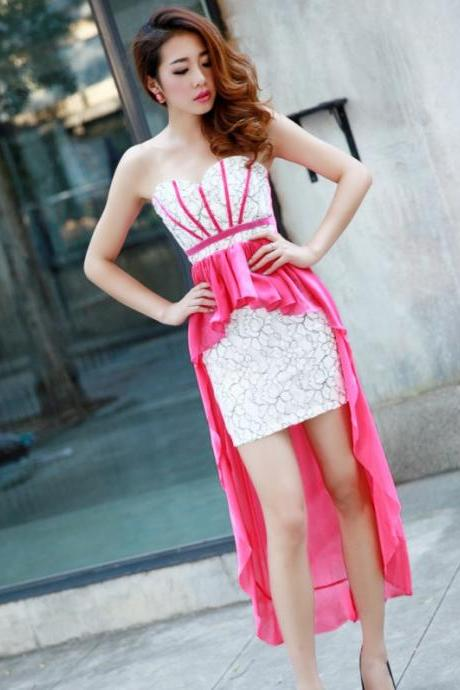 Elegant Chiffon Patchwork Ruffles Color Collision Tube Cocktail Dress