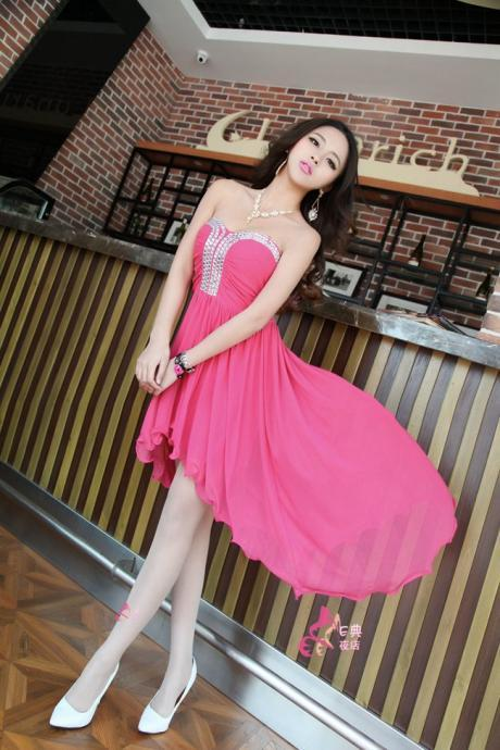 High Quality Chiffon High Waist Studded V Neck Asymmetrical Hem Ball Gown Charming Tube Top Dress