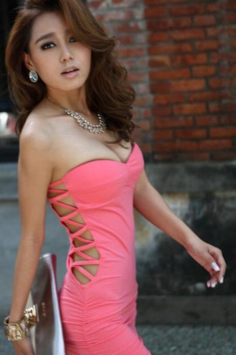 Summer New Arrival Nightclub Sexy Side Hollow Out Pure Color Strapless Women Dresses