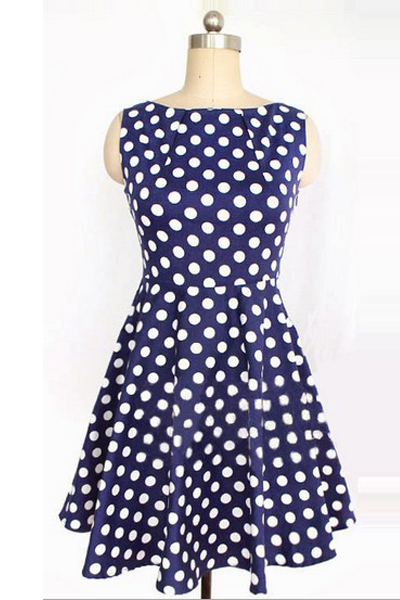 Fashion Polka Dots O Neck Tank Sleeveless A Line Blue Cotton Mini Dress