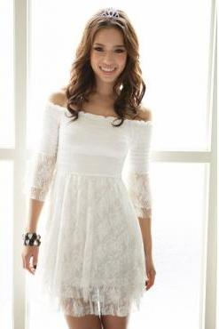 Fashion Off The Shoulder Long Sleeves White Lace Three Quarter Ball Gown Mini Dresses