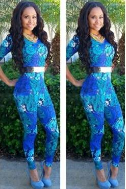 Fashion V Neck Half Sleeves Print Blue Polyester Skinny Jumpsuit