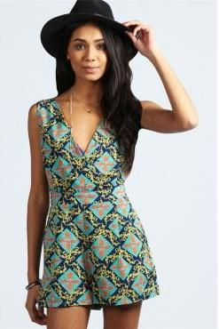 Fashion V Neck Tank Sleeveless Retro Morocco Print One-piece Jumpsuit