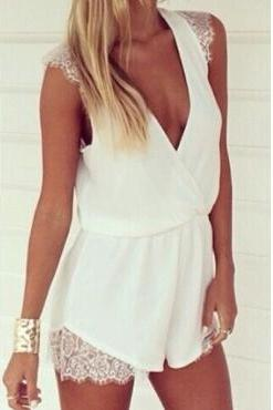Sexy Deep V Neck Lace Patchwork Solid White Polyester Regular One-piece Short Jumpsuit