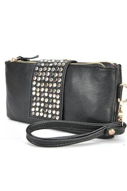 Cool Zipper Black Rivet Clutch Bag