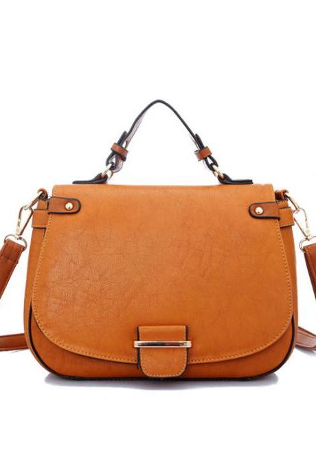 Brown Retro Contrast Color Shoulder Bag