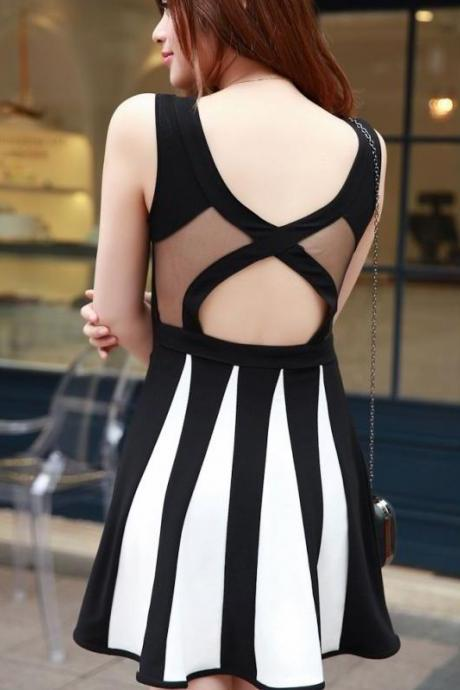 See-through Hollow Spliced Color Block Vest Dress