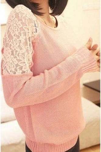 Sexy lace hollow comfortable crew neck sweater