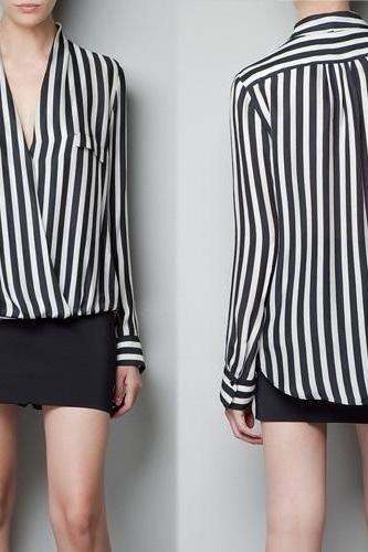 Sexy Classic Striped Chiffon Blouse