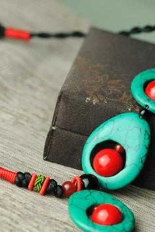 Turquoise and Red Coral Necklace Ethnic Jewelry Handmade