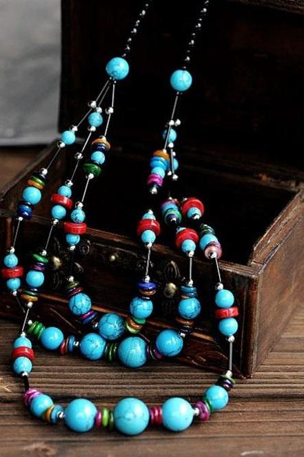 Gorgeous Three-row Blue Turquoise Beads Bohemian Multilayer Long Sweater Necklace