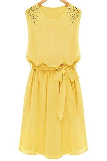 Yellow Chiffon Sleeveless Short Dress Featuring Bow Accent Belt and Rivets Detailing