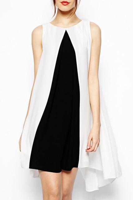 Fashion Loose Color Block Sleeveless Round Neck Chiffon Dress