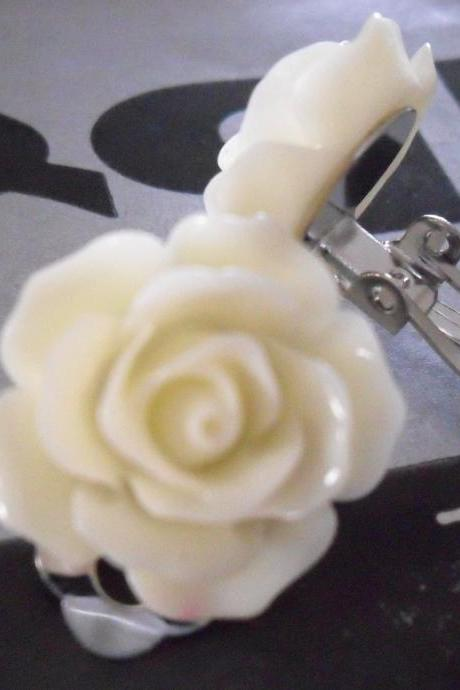 Lemon Cream Chiffon Vintage Resin Rose CLIP ON earrings FLOWER clip-ons
