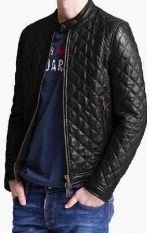 MEN SLIM FIT LATHER JACKET, MEN QUILTED LEATHER JACKET, MENS JACKET LEATHER