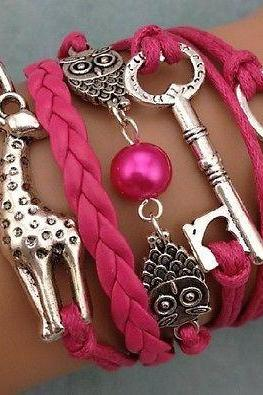 NEW Infinity Owl Giraffe Key Friendship Leather Charm Bracelet Silver Cute