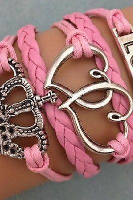 NEW Infinity Love Heart Crown Friendship Antique Silver Leather Charm Bracelet