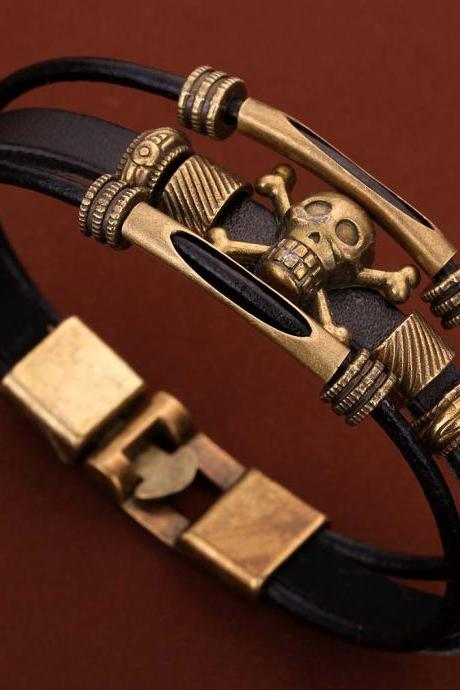New Jewelry Multi-Layer Black PU Leather Bangle Bronze Skull Wristband Bracelet