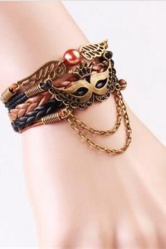 NEW Infinity Masks Crown Friendship Antique Copper Leather Charm Bracelet
