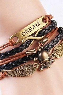 NEW Infinity Dream Skull Wings Friendship Antique Copper Leather Charm Bracelet