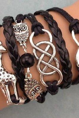 NEW Retro Infinity Giraffe Owl Pearl Leather Charm Bracelet plated Silver