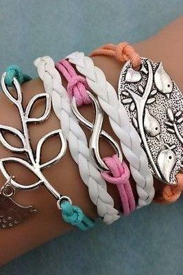 NEW Infinity Leaf Birds shaped wedding Cute Charm bracelet leather