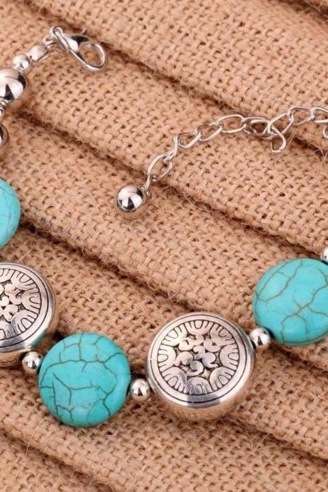 Hot Fashion Tibetan Silver Jewelry Oblate Beads Bangle Turquoise Chain Bracelets