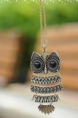 Occident Retro style fashion owl Long chain charms necklace