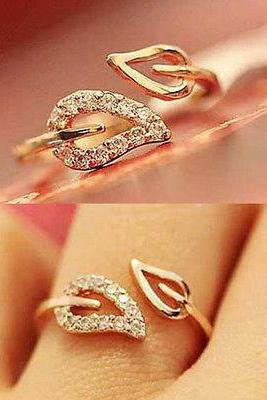 Fashion Womens Girls Rhinestone Leaf Shape Finger Ring US Size 6 Jewelry Gift