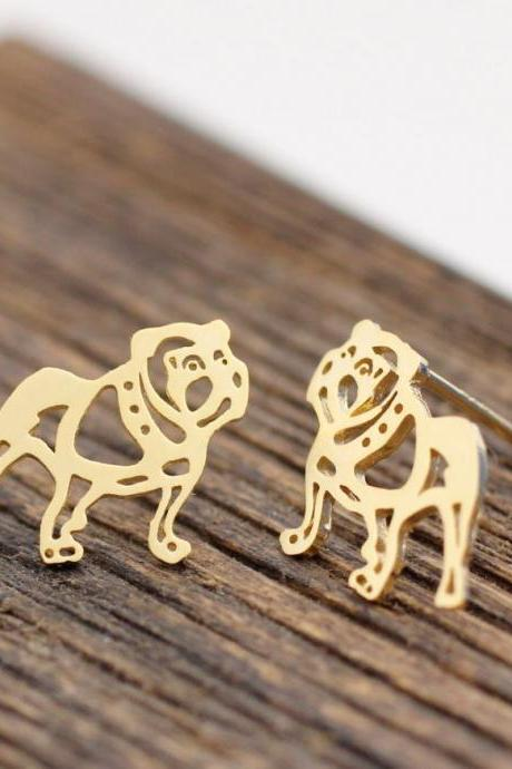 Cute french bulldog Stud Earrings in gold