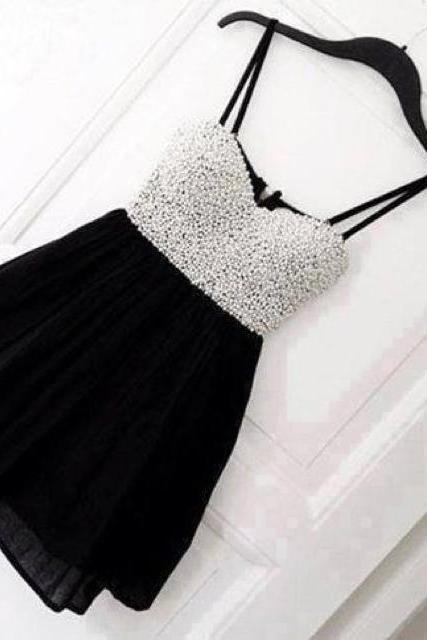 Cute Black Mini Homecoming Dress with White Beadings, Homecoming Dress 2014, Homecoming Dresses