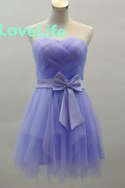 Charming Blue Tulle Mini Strapless Bowknot A-Line Homecoming Dress