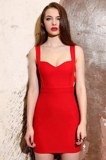 Red Sweetheart Shoulder Straps Short Bodycon Dress Featuring Cutout Deets