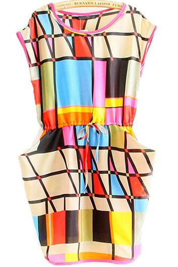 Colorful Cap Sleeve Geometric Chiffon Dress with Pockets