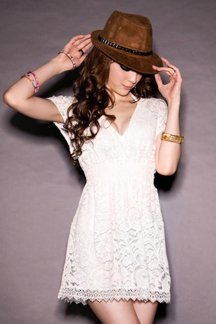 Charming V Neck Short Sleeve A Line Lace Dress - White