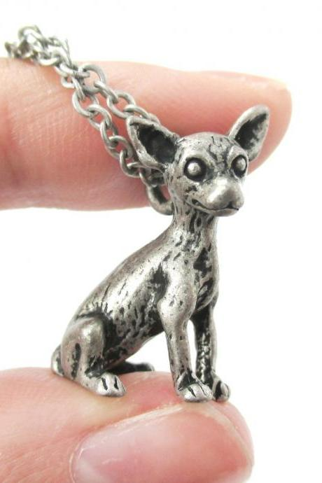 3D Detailed Chihuahua Animal Charm Dog Lover Themed Necklace in Silver