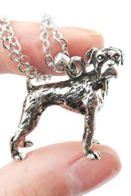 3D Detailed Boxer Dog Animal Charm Dog Lover Themed Necklace in Shiny Silver