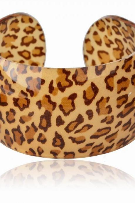 Chic Brown Leopard Acrylic Lucite Glitter Cuff Open Ended Bracelet Bangle